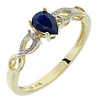 more details on 9ct Gold Diamond and Sapphire Pear Shape Ring.