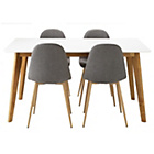 more details on Hygena Beni Dining Table & 4 Grey Chairs.