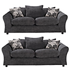 more details on HOME Clara Large and Large Fabric Sofa - Charcoal.
