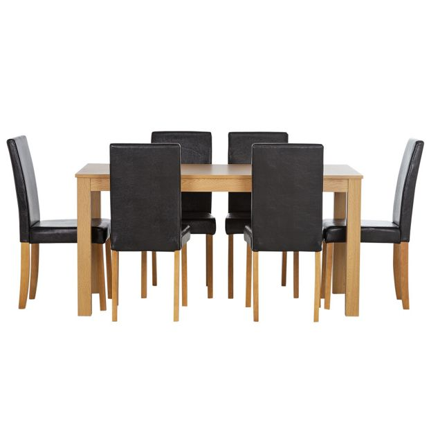 Buy HOME New Elmdon Oak Stain Dining Table And 6 Chairs Black At