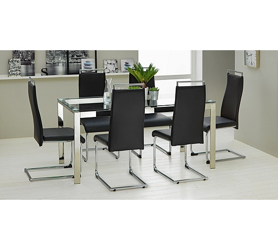 buy hygena apollo glass dining table and 6 chairs black at