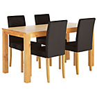 more details on Newton Oak Stain Dining Table & 4 Black Chairs.
