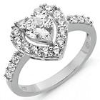 more details on Sterling Silver Cubic Zirconia Heart Ring - Q.