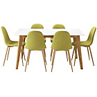 more details on Hygena Beni Dining Table & 6 Green Chairs.