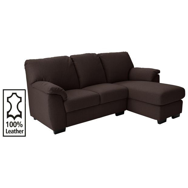 Buy collection milano chaise longue right leather sofa for Chaise longue sofa bed argos