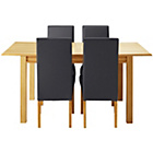more details on Heart of House Clevedon Ext Table & 4 Black Skirted Chairs.