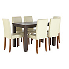 more details on Pemberton Walnut Effect Dining Table & 6 Cream Chairs.