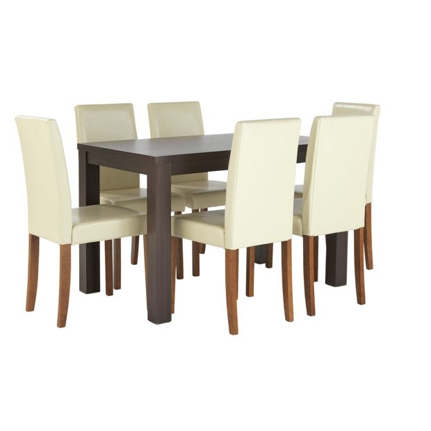 Buy home pemberton dining table 6 chairs walnut effect - Walnut effect living room furniture ...