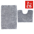 more details on ColourMatch Bath and Pedestal Mat Set - Flint Grey