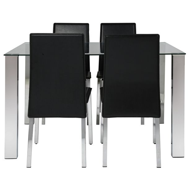 Argos Hygena Dining Table And Chairs: Buy Hygena Fitz Clear Glass Dining Table And 4 Black
