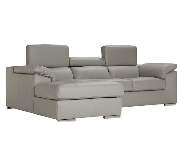 Buy hygena valencia leather left hand corner sofa grey for Outlet sofas valencia