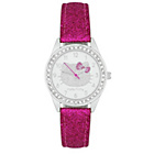 more details on Hello Kitty Girls' Stone Set Silver Dial Pink Strap Watch.