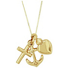 more details on 9ct Gold Heart, Anchor and Cross Solid Look Pendant Necklace