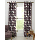 more details on Amble Leaf Unlined Eyelet Curtains - 168x229cm - Plum.
