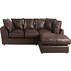 more details on New Alfie Leather Effect Right Hand Corner Sofa - Chocolate