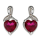 more details on Sterling Silver Created Ruby and Diamond Heart Earrings.