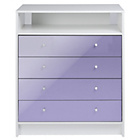 more details on New Malibu Gloss 4 Drawer Media Unit - Lilac.