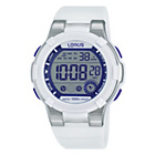 more details on Lorus Girls' Digital Chronograph Purple/White Strap Watch.