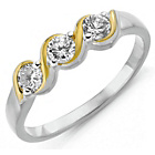 more details on Sterling Silver and 18ct Gold Plated CZ 3 Stone Twist Ring.