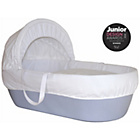 more details on Shnuggle Blue Moses Basket with White Covers and Mattress.