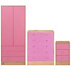 more details on New Malibu 3 Piece 2 Door Wardrobe Set - Pink on Pine.