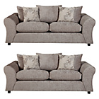 more details on HOME Clara Large and Large Fabric Sofas - Mink.