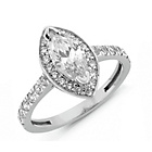 more details on Sterling Silver Cubic Zirconia Marquise Cut Ring - M.