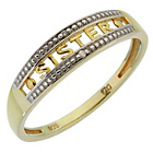 more details on 9ct Gold Plated Sterling Silver Diamond Set Sister Ring.