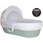 more details on Shnuggle Green Moses Basket with White Covers and Mattress.
