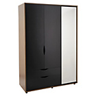 more details on Hygena Berkeley 3 Door 2 Drawer Mirror Wardrobe Black/Walnut