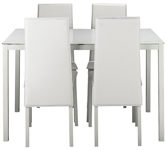buy hygena lido glass dining table and 4 chairs white at