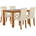 more details on Harborne Oak Stain 120cm Dining Table & 4 Cream Chairs.