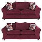 more details on HOME Clara Large and Large Fabric Sofas - Plum.