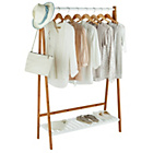 more details on Collection Belvoir Bamboo Clothes Rail with White Shelf.