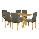 more details on Halfshire Pine Dining Table & 6 Charcoal Chairs.