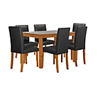 more details on Harborne Oak Stain 150cm Dining Table & 6 Black Chairs.