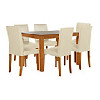 more details on Harborne Oak Stain 120cm Dining Table & 6 Cream Chairs.