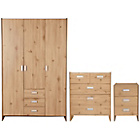 more details on New Capella 3 Piece 3 Door Wardrobe Package - Pine effect.