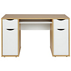 more details on Hygena Berkeley Double Pedestal Desk - White & Oak Effect.