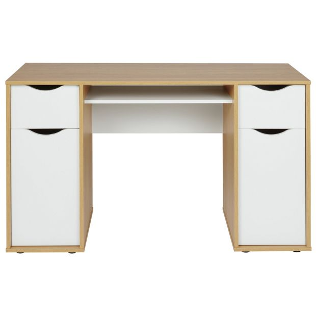 Buy Hygena Berkeley Double Pedestal Desk White Oak Effect At Your Online Shop