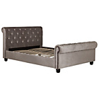 more details on Schreiber Button Back Sleigh Super King Bed Frame - Mink.