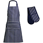 more details on Premier Housewares Navy Stripe Apron and Oven Glove Set.