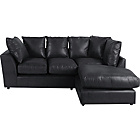 more details on New Alfie Leather Effect Right Hand Corner Sofa - Black.
