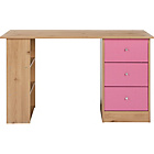 more details on New Malibu 3 Drawer Desk - Pink on Pine.