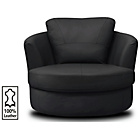 more details on Collection Milano Leather Swivel Chair - Black.