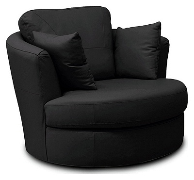 Buy Collection Milano Leather Swivel Chair Black At