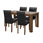 more details on Sandwell Oak Stain Table & 4 Black Chairs.