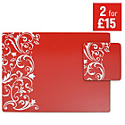 more details on Damask Set of 4 Placemats and Coasters - Red.