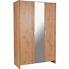 more details on New Capella 3 Door Mirrored Wardrobe - Pine Effect.