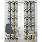 more details on Chevron Lined Eyelet Curtains - 167x183cm.
